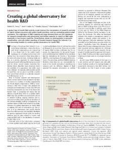 Artigo aborda observatório global de pesquisa e desenvolvimento na área da saúde